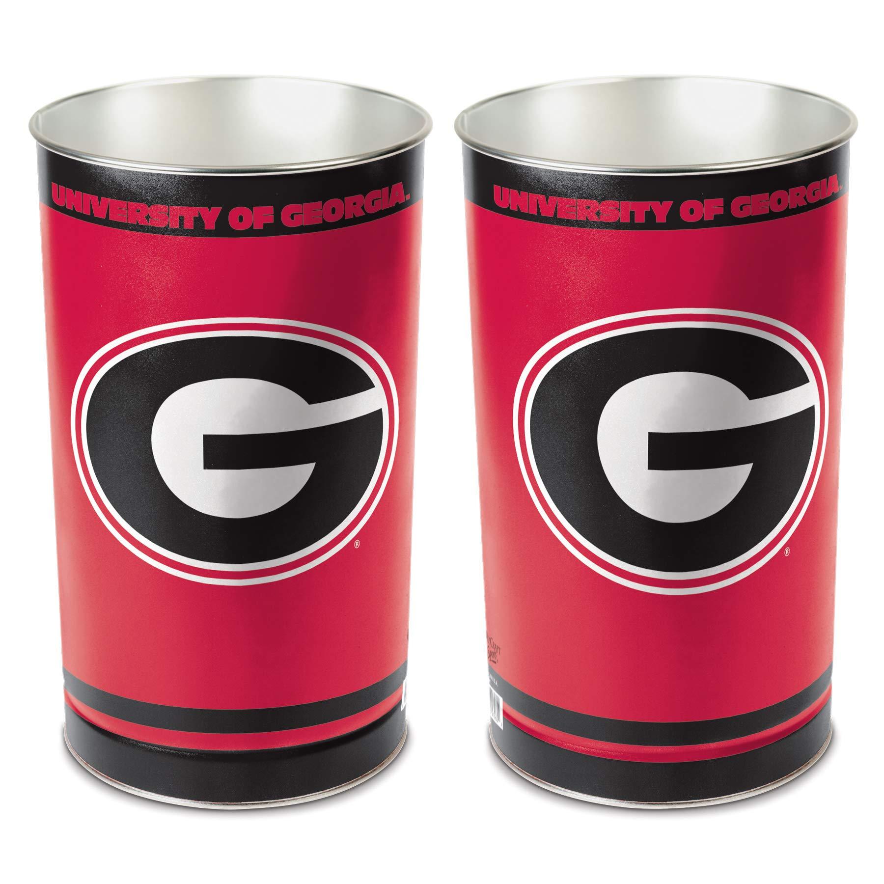 WinCraft NCAA 9796211 University of Georgia Tapered Wastebasket, 15'' H