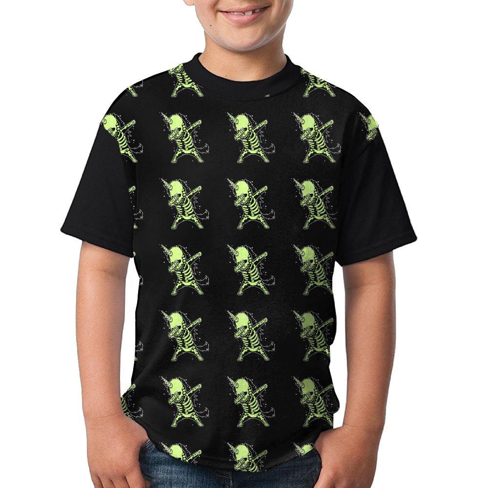 Dabbing Unicorn Skeleton Kids Summer Tshirts 3D Printed Tee Black Top X-Small