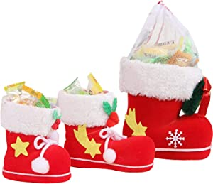 HOSL 3 Pack Christmas Presents Basket Christmas Candy Bags Christmas Gift Bags Portable Santa Apple Gift Bag Wedding Candy Tote Bag Christmas Gift Box For Party Home Decor