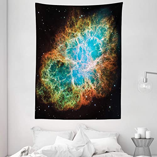 Ambesonne Outer Space Tapestry, Image of Crab Nebula in Early Age Clean Version of Original Space Print, Wall Hanging for Bedroom Living Room Dorm, 60 X 80 , Black Teal