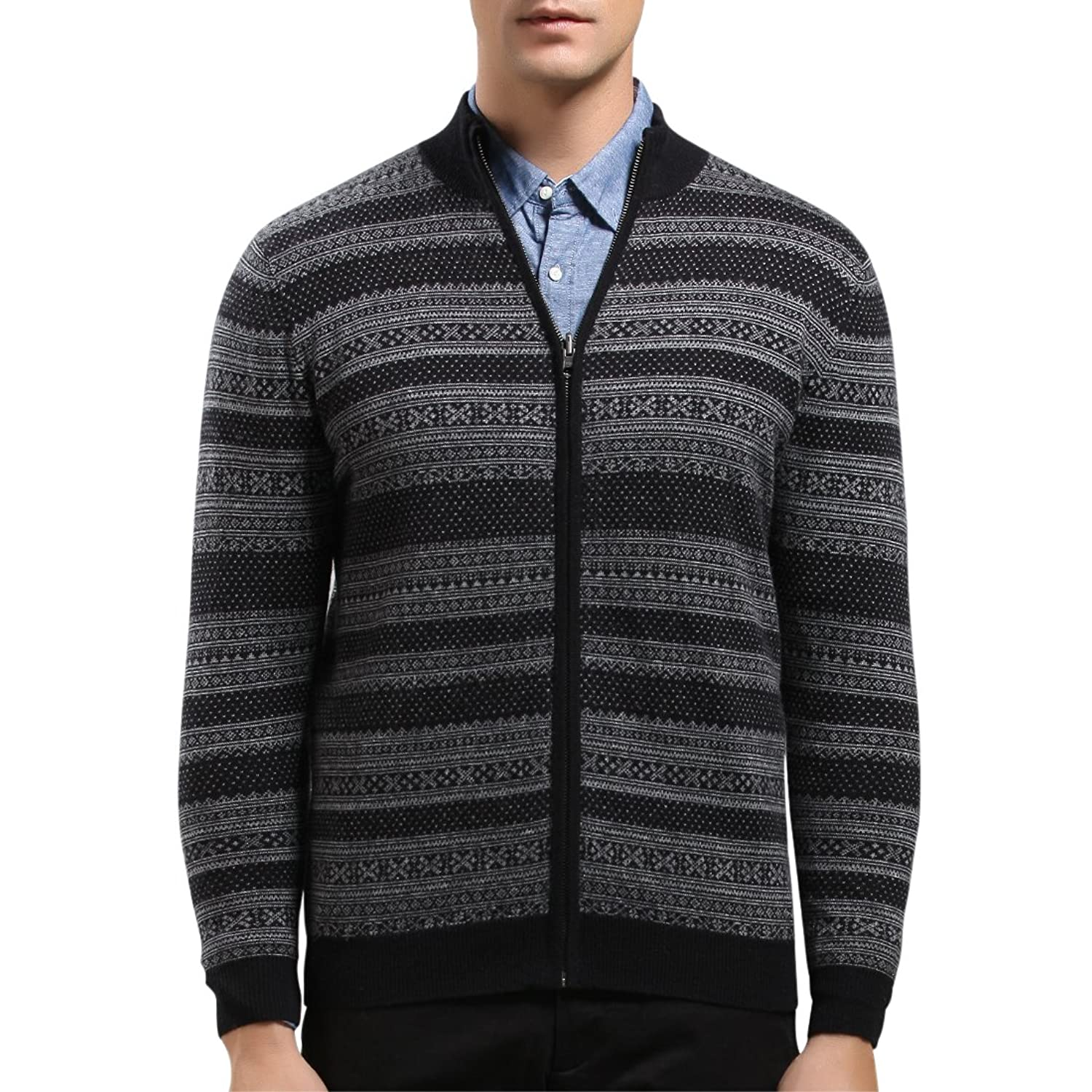 SpringAir Mens Knitted Cardigan Pure Cashmre Nordic Style High Neck Zipper Jumper