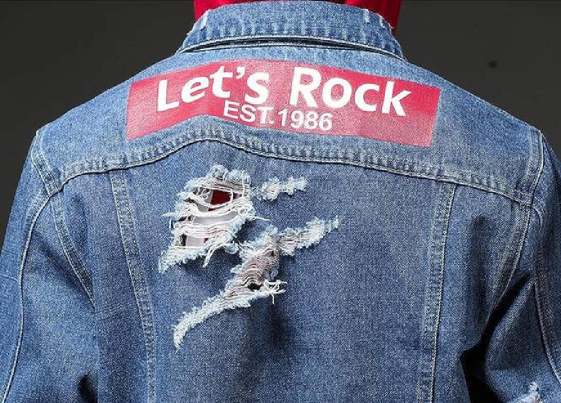 ARTFFEL Men Button Down Loose Fit Ripped Retro Denim Jacket Jean Coat Outerwear at Amazon Mens Clothing store: