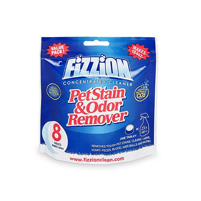 Pet Stain and Odor Eliminator by Fizzion - Removes Pet Urine and Feces Safely With The Professional Cleaning Power of CO2 (8 Tablets) Makes 184oz by ...
