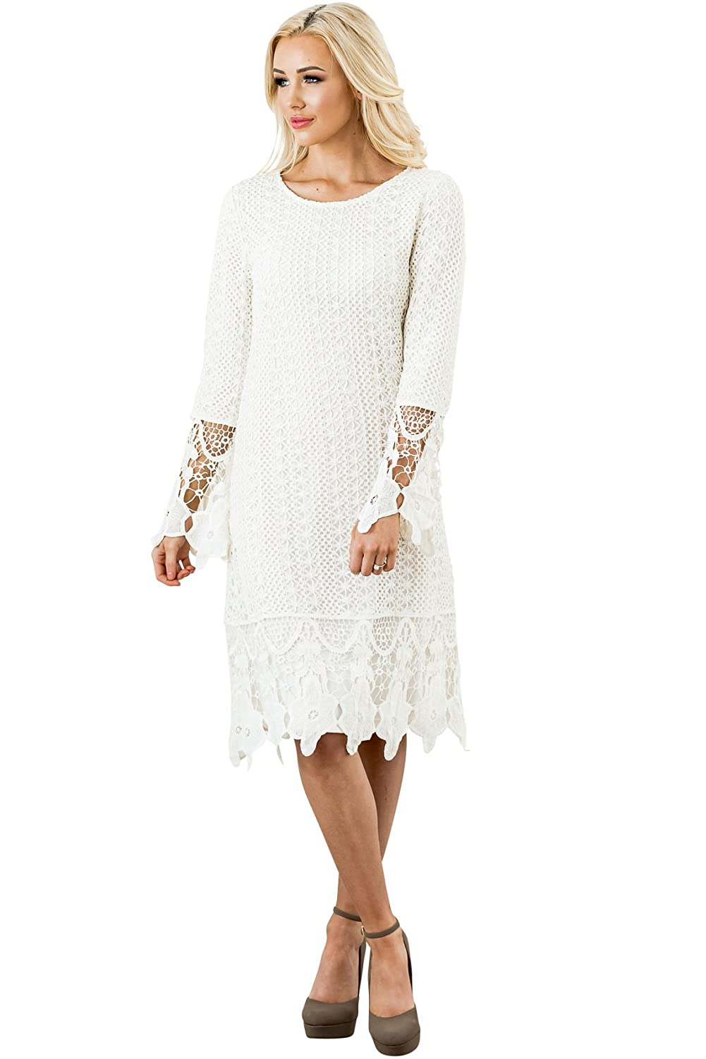 f7735e8ff1dc Absolutely stunning modest knee-length dress with pretty details - crochet  lace overlay, floral cutout fringe hemline & bell sleeves!