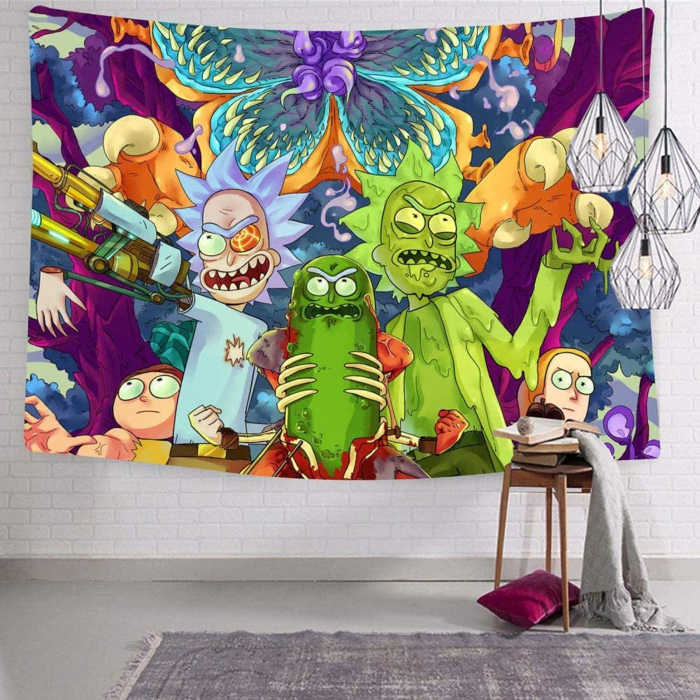 Amazon Com Hoopnua Rick Morty Tapestry Wall Hanging Tapestries 3d