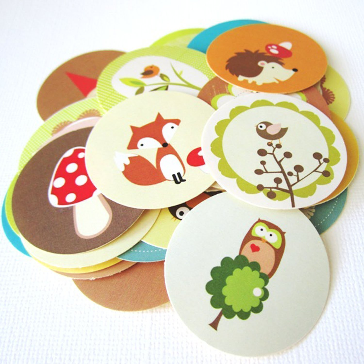 Woodland Animals and Gnome Stickers Label, Party Favors Gift Wrapping and Envelope Seal - Set of 50