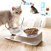 Cat Bowl 15°Tilted Cats Food Water Bowls Pet Feeder Raised Elevated Double Feeding Dishes With Neck Guard Stand for…