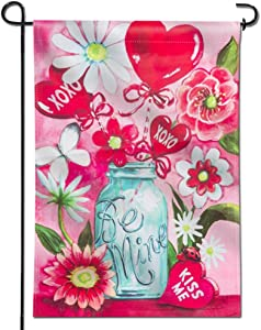 Anley |Double Sided| Premium Garden Flag, Be Mine Kiss Me Jar Valentine's Day Bouquet Decorative Garden Flags - Weather Resistant & Double Stitched - 18 x 12.5 Inch