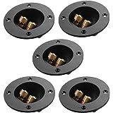 ROSENICE スピーカー ボックス ターミナル カップ コネクタ丸ポスト プラグ 2ウェイ 5個(黒)