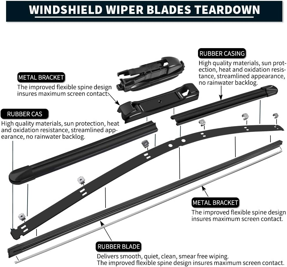 Windshield Wipers Blades 20 20 MIKKUPPA for 2008-2012 Ford Escape Front Wiper Pack of 2 Original Equipment Replacement