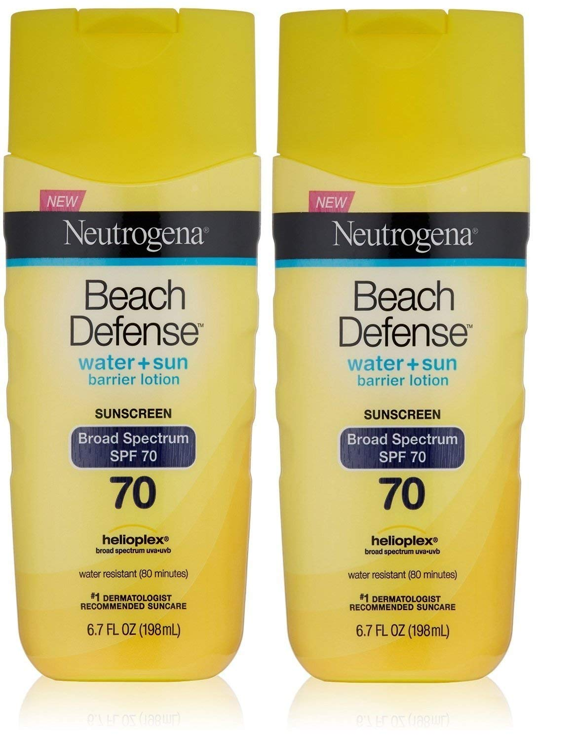 Neutrogena Beach Defense Sunscreen Lotion with Broad Spectrum SPF 70 Protection, 6.7 Ounce (Pack of 2)