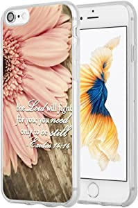 Case for iPhone 7 Christian Sayings,Hungo Soft TPU Silicone Protective Cover Compatible with iPhone 8/7 / SE 2 (SE 2020) Bible Verses Theme Exodus 14:14