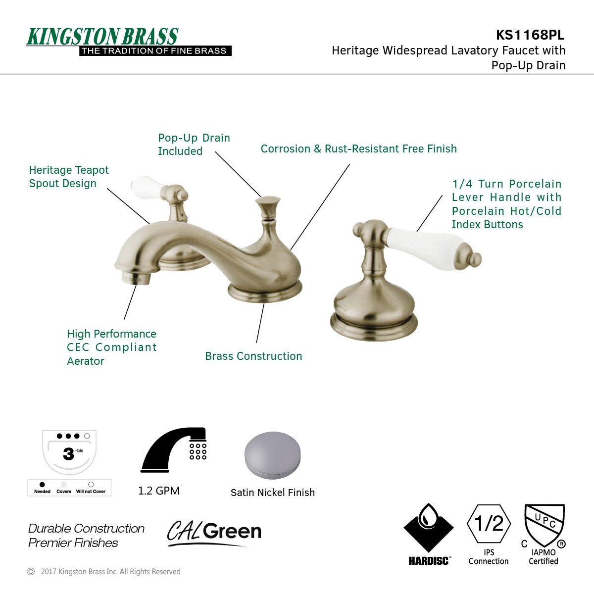 Kingston Brass KS1168PL Heritage Widespread Lavatory Faucet with Porcelain Lever Handle Brushed Nickel
