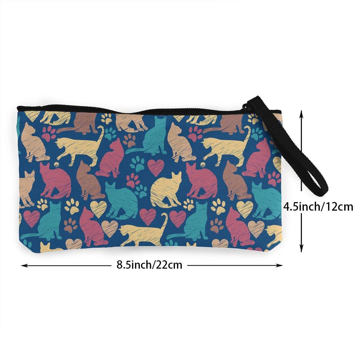 Canvas Coin Purse Colorful Cat Paw Print Change Cash Bag Zipper Small Purse Wallets