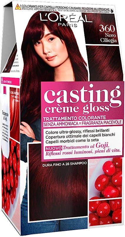 LOréal Paris Casting Creme Gloss, tratamiento colorante para el cabello, sin amoniaco para una fragancia agradable. Nero Ciliegia 360