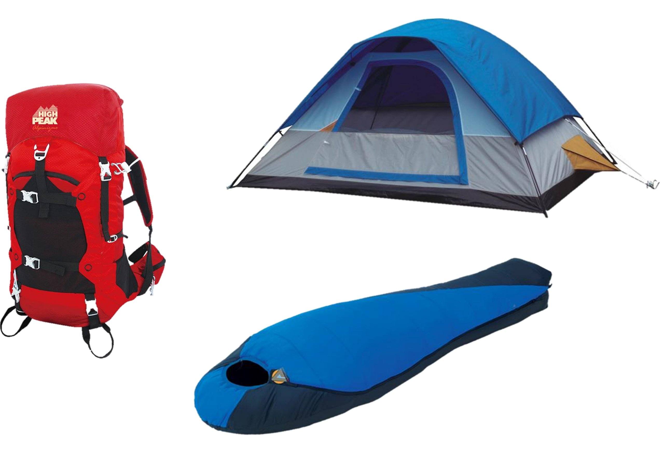 High Peak USA Alpinizmo 40 Liter Hiking Pack 5 Men Tent & Extreme Sleeping Bag, Red/Blue, One Size by Alpinizmo