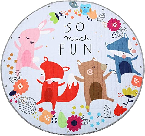 Jeteven Kids Play Mat Round Baby Nursery Rugs Portable Toys Storage Bag Fox Kids Teens Home Décor Rateshop Home Garden