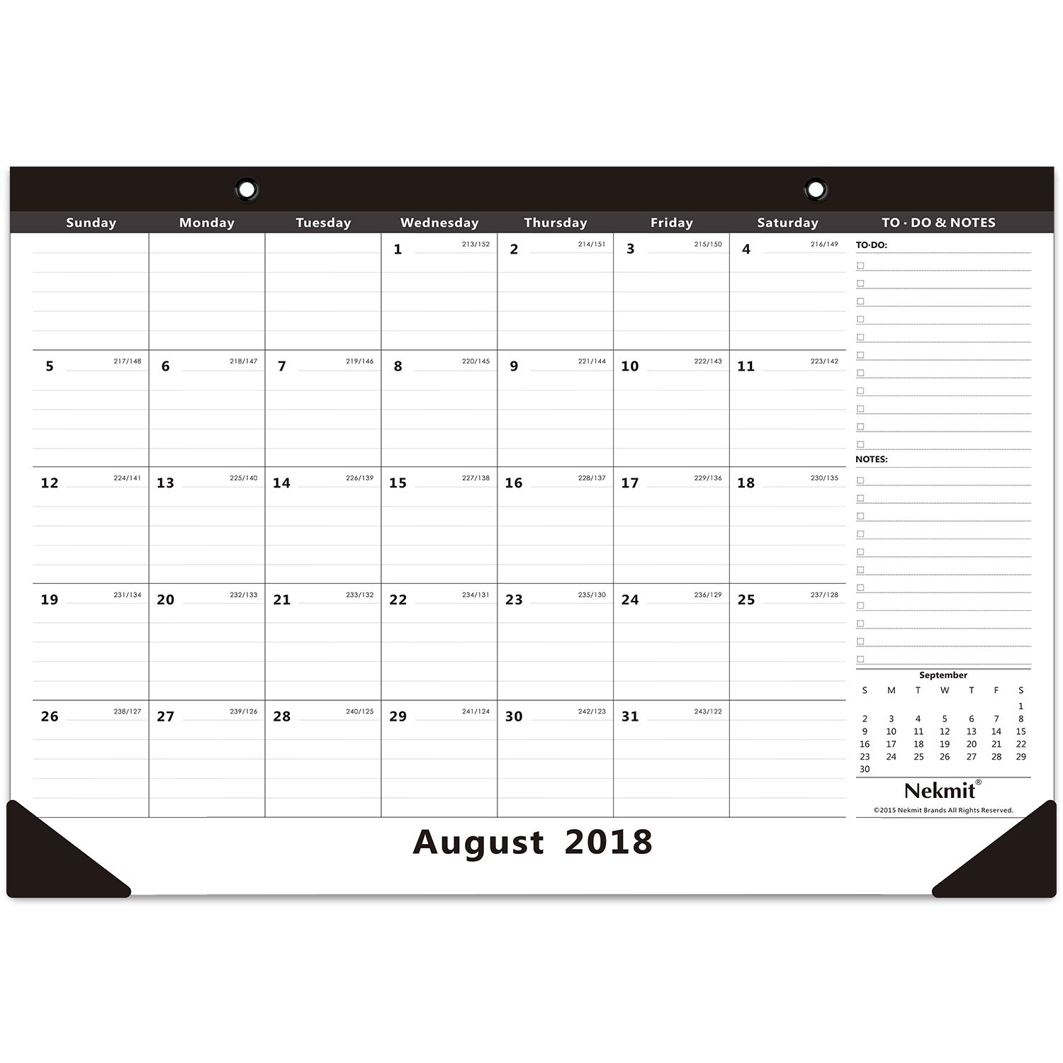 Nekmit Monthly Desk Pad Calendar, August 2018 - December 2019, 16-3/4'' x 11-4/5''