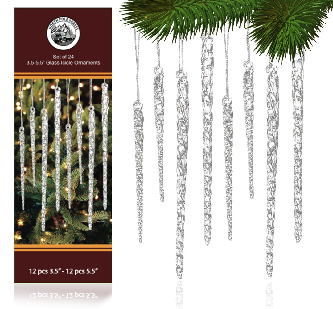 Amazon.com: Universal Christmas Twisted Clear Glass Icicle Drop ...
