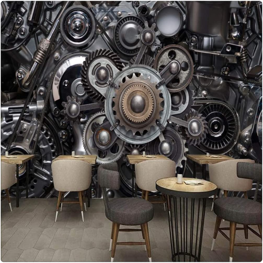 Mural 3D Three Dimensional Metal Gear Industrial Wind Engine