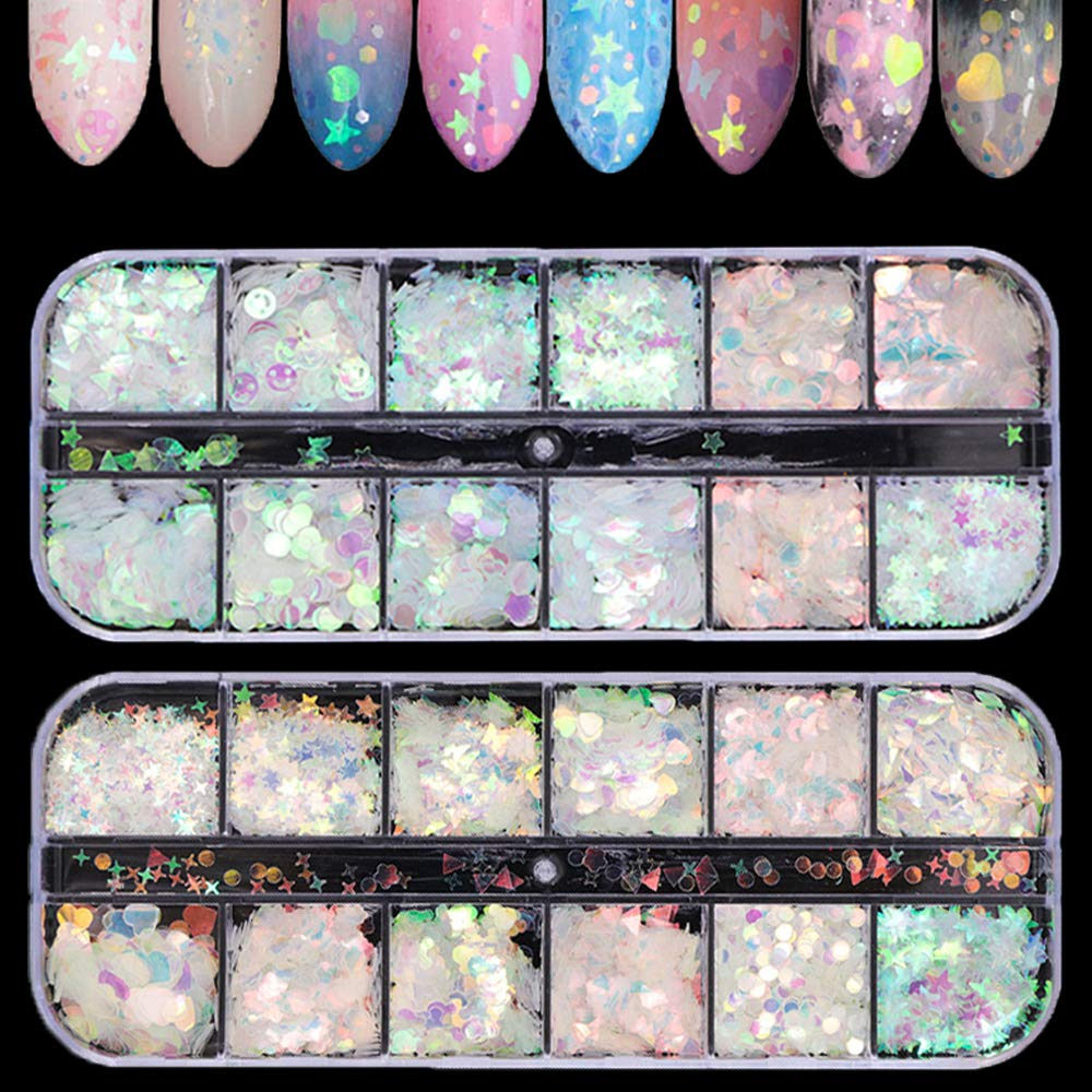 Tingbeauty 2Boxes 24Colors Holographic Nail Iridescent Sequins Colorful Flakes Nail Art Sticker Glitter DIY Decals Decoration for Face Body Eyes: Arts, Crafts & Sewing