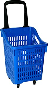 Shopping Basket Supermarket Trolley Durable Cart Grocery Four Wheel Blue Color