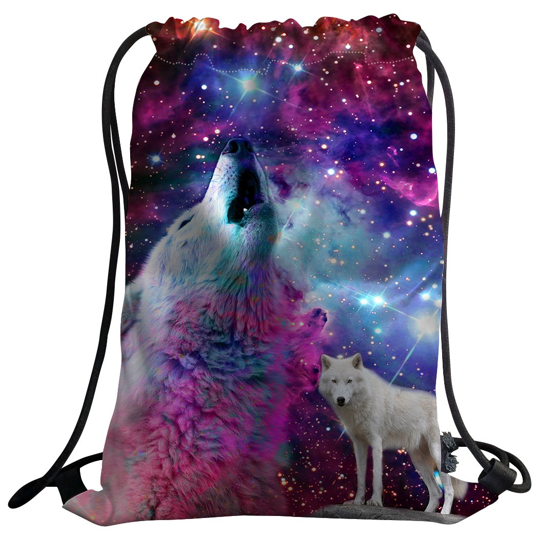 SXCHEN Gym Bag Sack Drawstring Sports Backpack Purple Starry Sky Galaxy Wolves chic