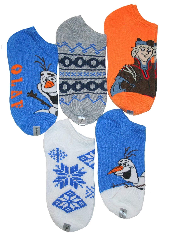 Disney Frozen Little Boys' Olaf No Show Socks 5 PK (Medium 6-8.5)
