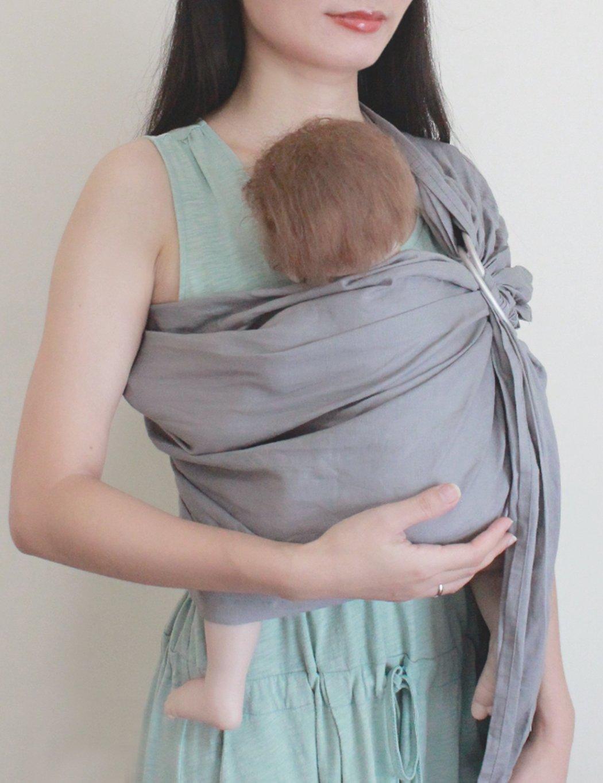 Extral Soft Lightweight Linen Cotton Baby Slings for Infant Vlokup Baby Ring Sling Carrier Wrap Great Gift Adjustable Nursing Cover Orange Rainbow Newborn and Kids Toddler