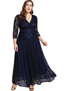 759c18fbbb7 Floerns Women s Plus Size High Waist Lace Wrap Maxi Cocktail Party Dress