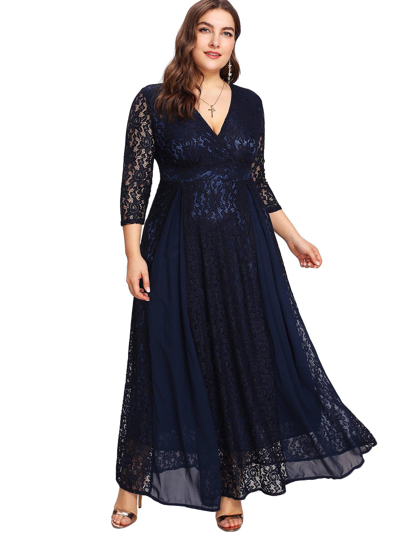 6b9396f0278 Floerns Women s Plus Size High Waist Lace Wrap Maxi Cocktail Party Dress -  Top Plus Size Models - Affordable Plus Size Clothing - Plus Size For Less -  Cheap ...