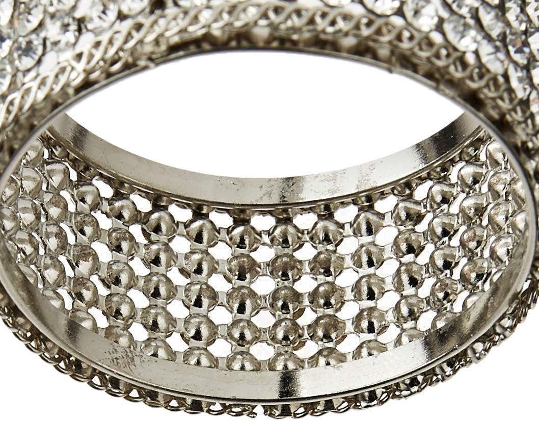. Set von 4 Elegance Silber Serviettenringe mit Kristallen