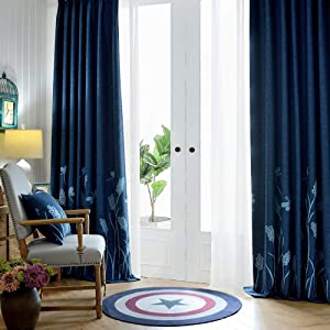 Tinysun Dragonfly Embroidered Wheat Textured Linen Curtain,Mute Silvery Groment Top,Imaginary Designed Semi Curtains for Living Room Bedroom (Blue/Wheat, 2 Panels | W52xL84)