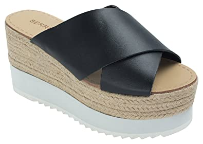 b0a1da1bd36 AnnaKastle Womens High Platform Espadrille Wedge Slide Sandal
