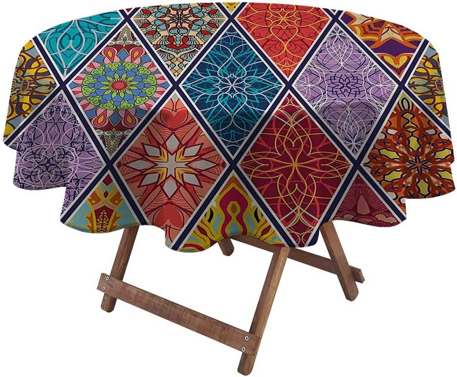 Table Cloths for Round Tables Farmhouse Decor for Garden Patio Party Tabletop Mega Geometric Diagonal Pieced Mosaic Tile with Authentic Arabesque Lines Decor 60