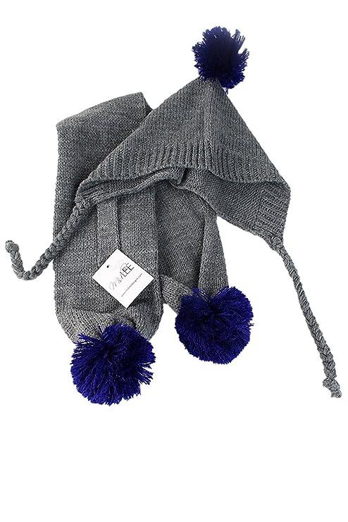 a310d834b0f Amazon.com   Midlee Small Gray   Blue Pom Pom Dog Hat   Scarf   Pet Supplies