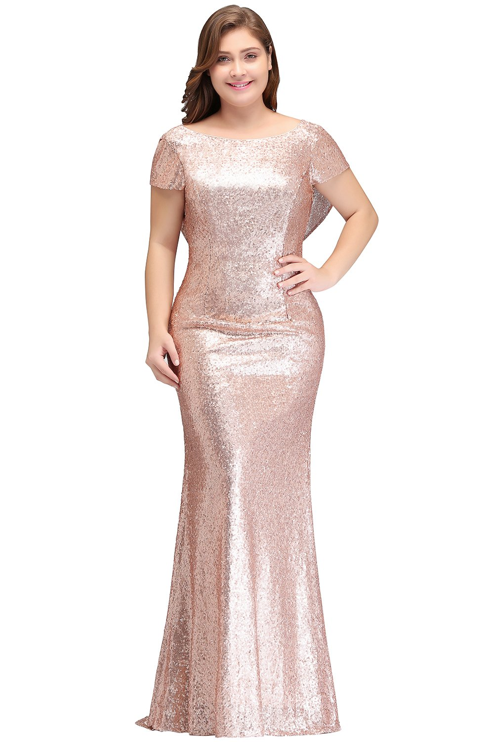 76eab93891 MisShow Women Plus Size Rose Gold Long Sequin Bridesmaid Dress Prom/Evening  Gowns 24W