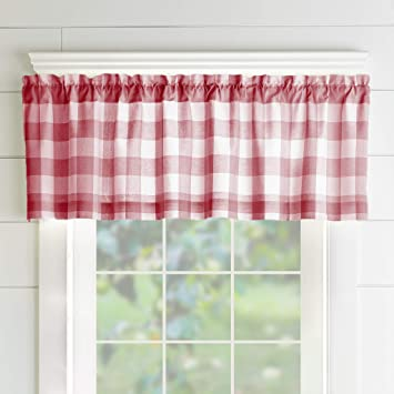 Peachy Elrene Home Fashions Farmhouse Living Buffalo Check Window Kitchen Valance 60 X 15 1 Red White Download Free Architecture Designs Grimeyleaguecom