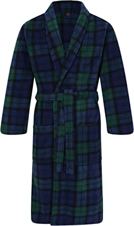John Christian Men's Fleece Robe, Scottish Black Watch Tartan