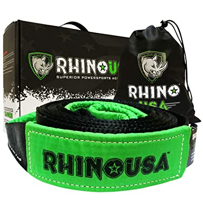 "Rhino USA Recovery Tow Strap 3"" x 30ft - Lab Tested 31,518lb Break Strength - Heavy Duty Draw String Included - Triple Reinforced Loop Straps to Ensure Peace of Mind - Emergency Off Road Towing Rope: Automotive"