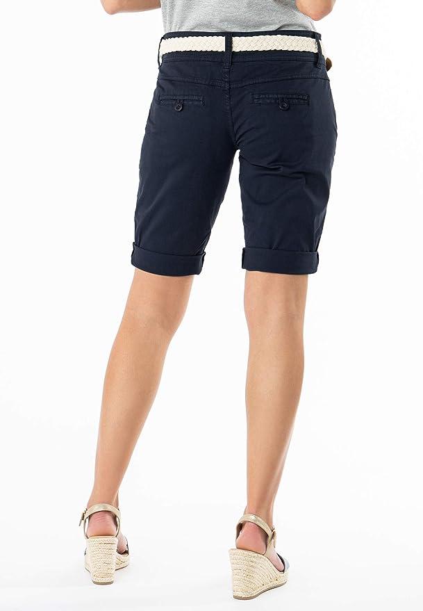 3923e0a0975f89 Fresh Made Bermuda da Donna Color Pastello con Cintura Intrecciata |  Eleganti Pantaloni Corti Stile Chino Blu Scuro S: Amazon.it: Abbigliamento