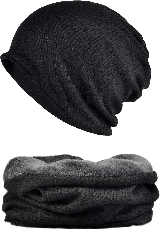 Snyemio Cappello Sciarpa Uomo Beanie Berretto Sportivo con Sciarpa Caldo Cotone Unisex Inverno A Maglia Set