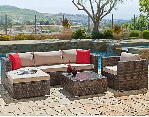 SUNCROWN Outdoor Patio Furniture Sectional Sofa and Chair 6-Piece Set All-Weather Brown Wicker