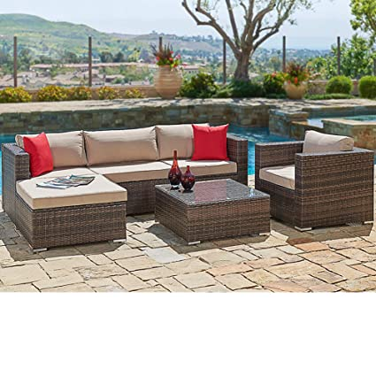SUNCROWN Outdoor Patio Furniture Sectional Sofa and Chair (6-Piece Set)  All-Weather Brown Wicker with Seat Cushion and Modern Glass Coffee Table,  ...