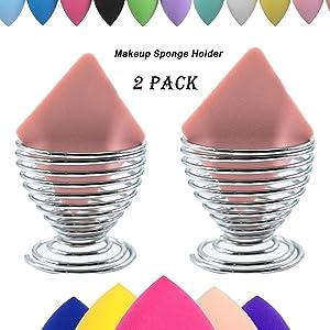LanMa Beauty Sponge Blender Holder,(2 Pack Silver) Makeup Sponge Drying Stand Storage Egg Powder Puff Display Stand