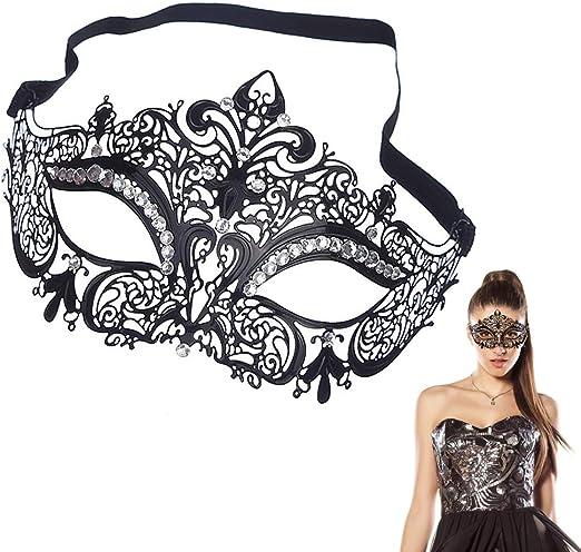 EQLEF - Máscara veneciana sexy de metal negro con brillantes ...