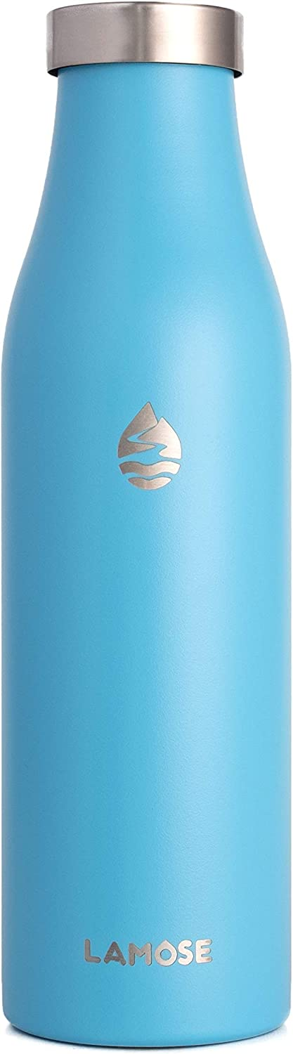 LAMOSE Robson 21oz Bottle, Stainless Steel, Vacuum Insulated with All Steel Lid (Skyblue)