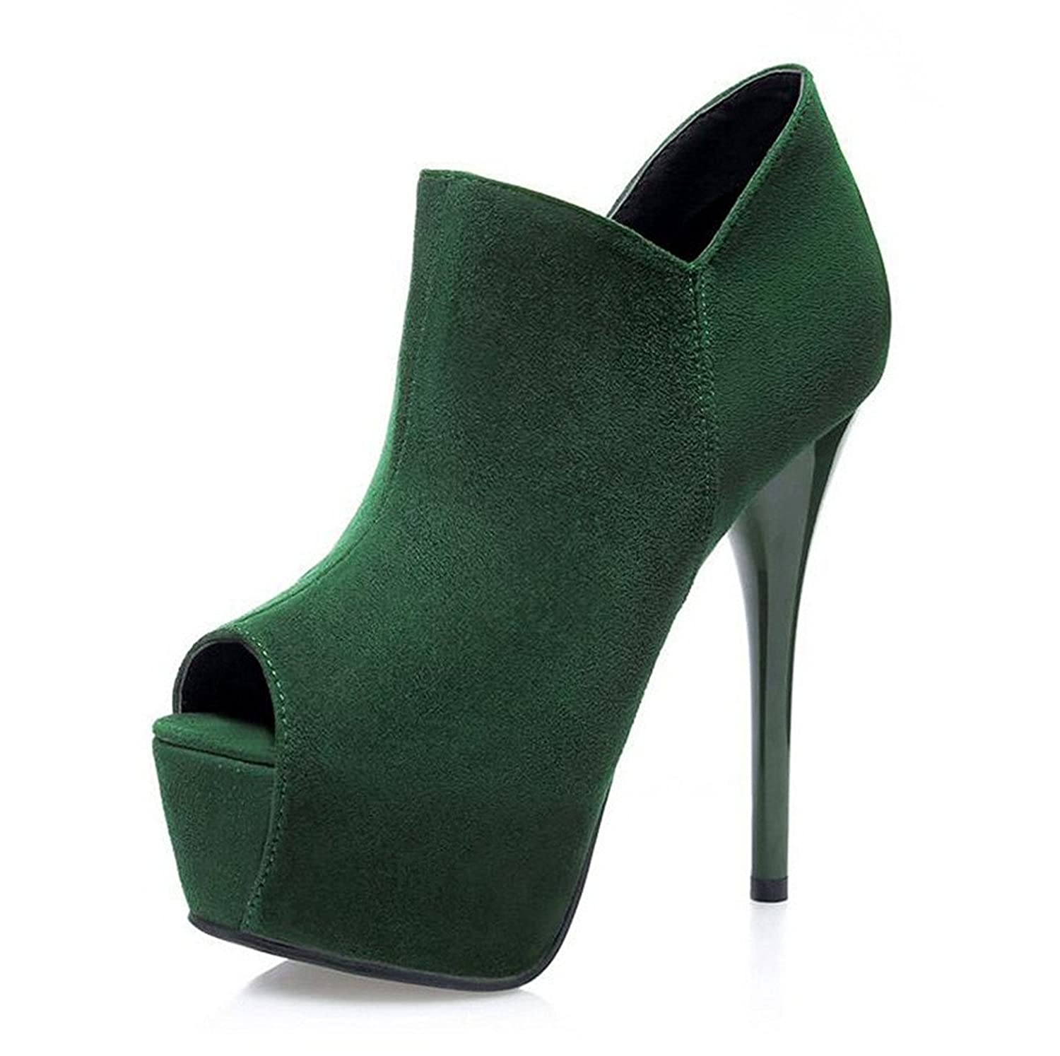 shiybugou Womens Round Peep-Toe Stiletto heel Ankle Boots Suede leather attractivedesign