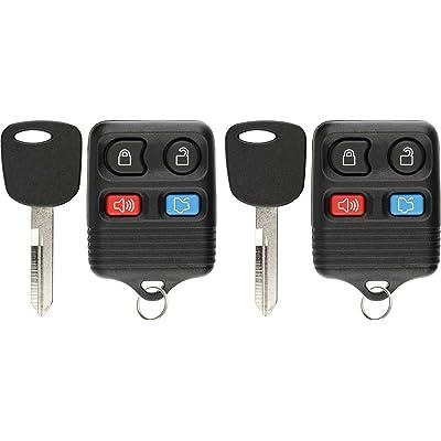 KeylessOption 4 Item Bundle 2 Key Fobs Keyless Entry Remotes 2 Uncut 4C Ignition keys for Ford Lincoln Mercury: Automotive