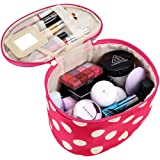 DZT1968 Handle Round Dot Large Cosmetic Bag Travel Makeup Organizer Case Holder With Mirror (Watermelon Red)